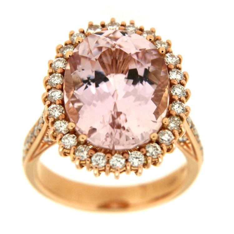 codice promozionale 9a6db daa9a Guidetti | Anello in oro rosa con diamanti taglio brillante e kunzite