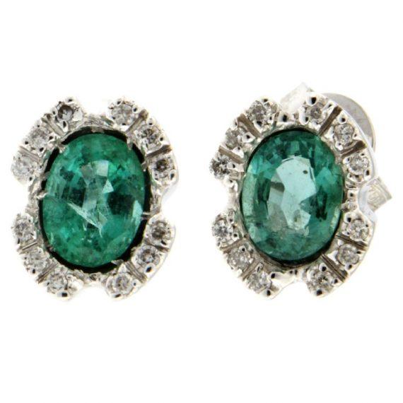 G1567-orecchini-oro-bianco-brillanti-diamanti-smeraldi-fronte