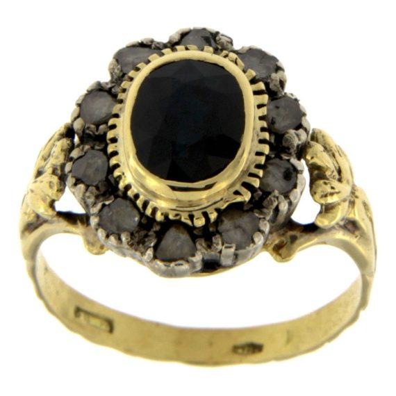 G2036-anello-stile-antico-oro-giallo-argento-diamanti-rosette-zaffiro