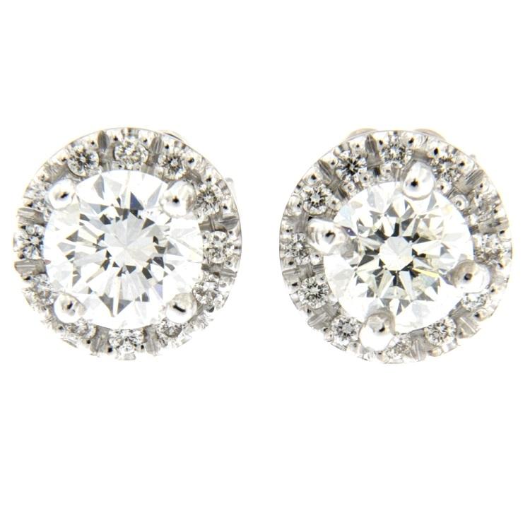 scelta migliore miglior prezzo stile classico Orecchini punto luce in oro bianco con diamanti taglio brillante