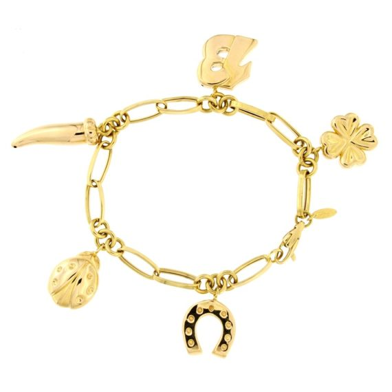 G2078-bracciale-oro-giallo-cornetto-tredici-quadrifoglio-ferro-di-cavallo-coccinella-portafortuna-1