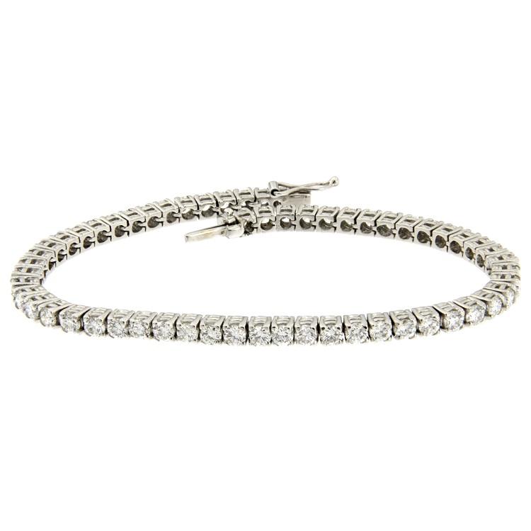 prezzo competitivo 6bb5d b7d20 Bracciale tennis in oro bianco con diamanti taglio brillante 5,39 ct
