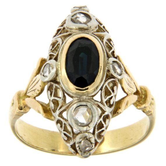 G2208-anello-stile-antico-oro-argento-zaffiro-diamanti