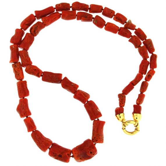 G2290-Rubrum-Sardegna coral necklace with yellow gold closure