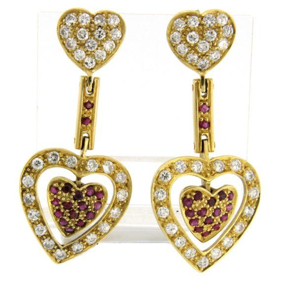 G2332-orecchini-oro-giallo-cuore-diamanti-brillanti-rubini