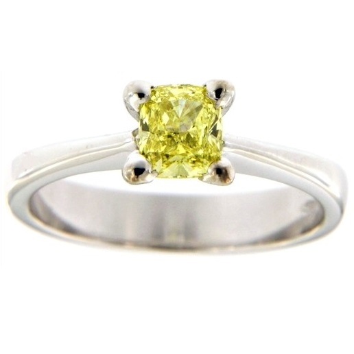 G2571 white gold solitaire ring with fancy yellow cushion cut diamond