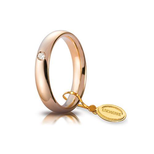 F40_Fede nuziale Comoda oro rosa mm 4 con brillante ct 0,05